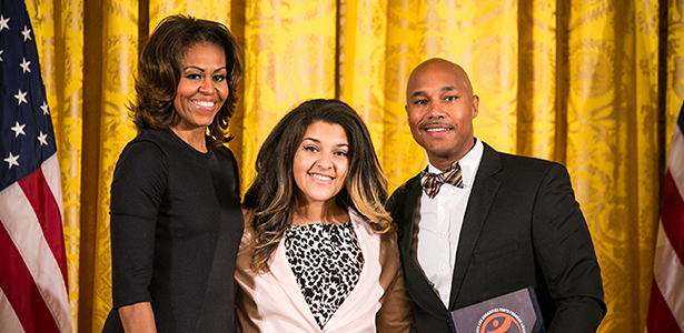 Boston Children's Chorus Executive Director David C. Howse and singer Amber Rodriguez with First Lady Michelle Obama.
