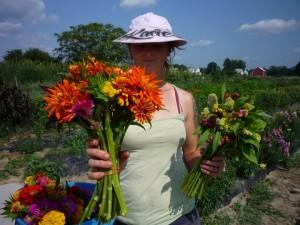 Kacie Breault working in the garden