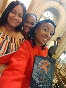 L_R Yamilex Ramus Peguero, Maria Cardoso, Christina Turner (Dir. Apprentices & Interns) with the NAHYP Award in Washington, D.C.