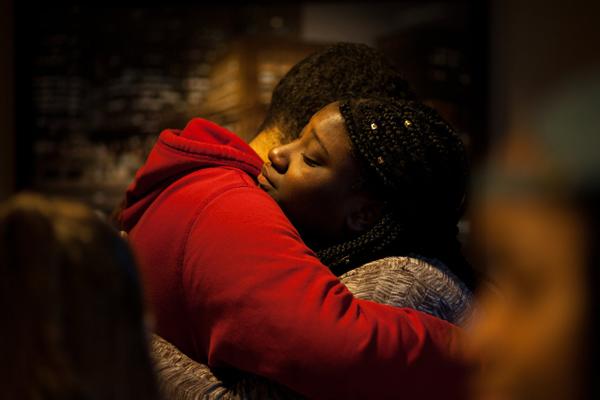 Andrine Pierresaint embracing in a hug. Photo: Alexandra Wimley.