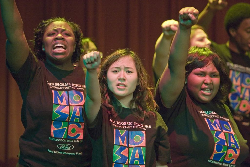 Detroit, Michigan - Mosaic Singers in concert. The Mosaic Singers are part of Mosaic Youth Theatre, which provides free, professional quality theater and music training for teenagers in the Detroit area. Copyright Jim West