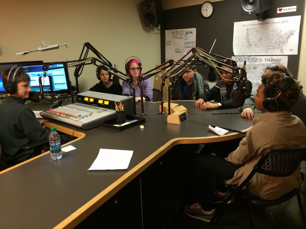 Teens hosting radio program at Zumix in East Boston.