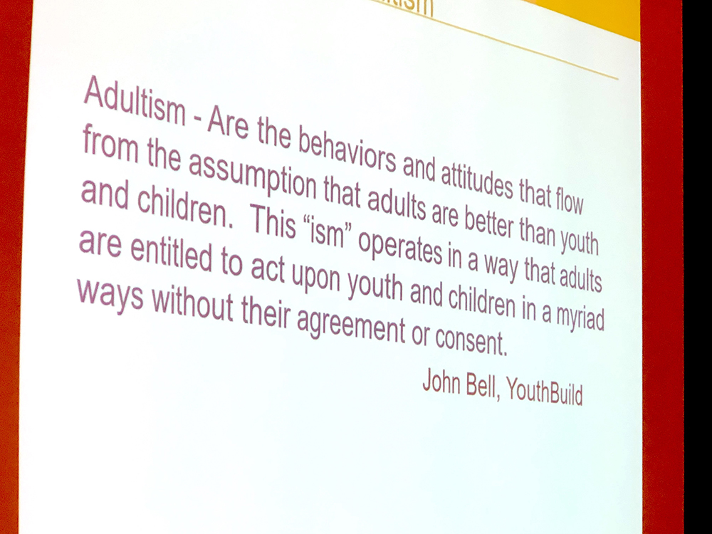 Slide detailing definition of Adultism