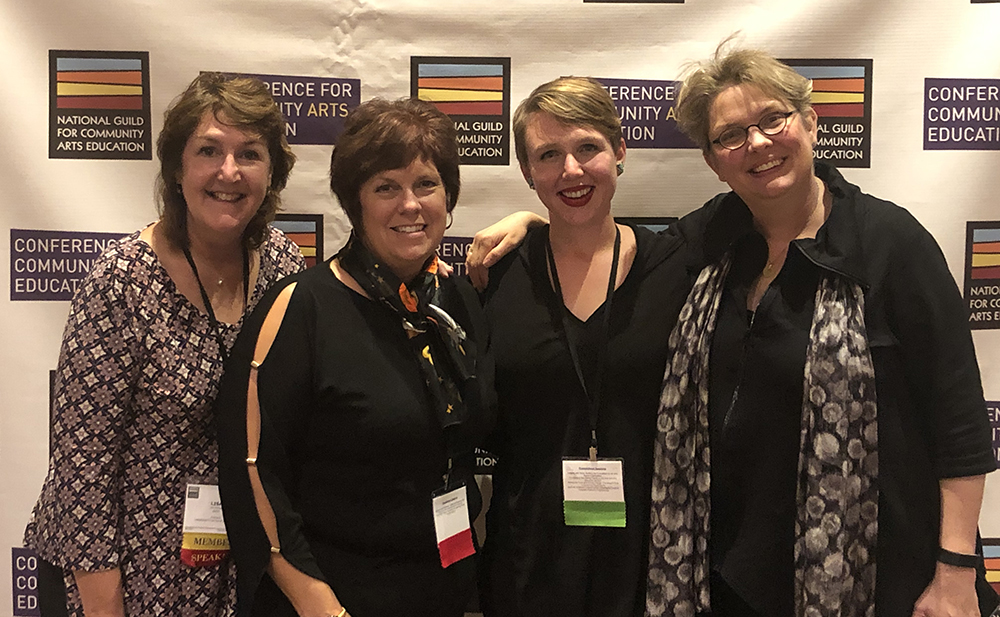 Massachusetts representatives at the Guild's conference (l-r): Lisa Donovan, Kim Roberts Morandi, Miranda Aisling, and Käthe Swaback