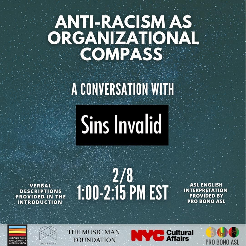 "graphic for ""Anti-racism as organizational compass"" on Feb 2, 2021. Host by the National Guild."